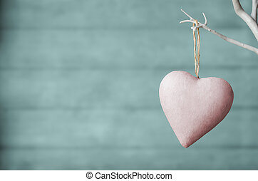 rosa, corazón, turquesa, árbol, madera, plano de fondo, blanco, tablón