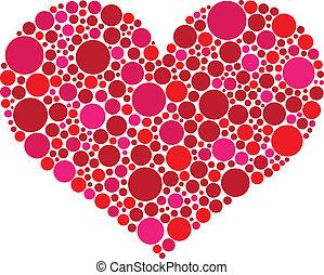 rosa, corazón, valentines, puntos, día, rojo