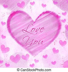 rosa, corazón, viejo, papel, amor, usted, rayado