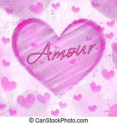 rosa, corazón, viejo, papel,  Amour, rayado