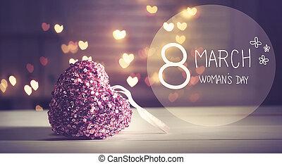 rosa, corazón, womans, mensaje, día, feliz