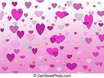 rosa, corazones
