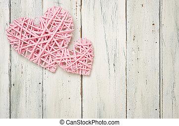 rosa, corazones, en, un, blanco, de madera, plano de fondo