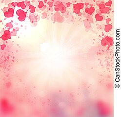 rosa, corazones, valentine, fondo.