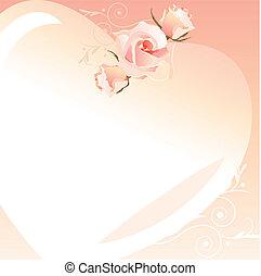 rosa, cornice, cuoriforme, delicato