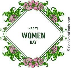 rosa, cornice, illustrazione, vettore, disegno, floreale, donne, giorno, felice