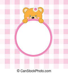 rosa, cornice, orso