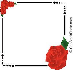 rosa, cornice, vettore, bordo, rosso