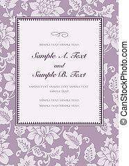rosa, cornice, vettore, lilla
