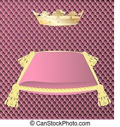 rosa, corona, cojín