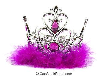 rosa, corona, isolato, principessa, fondo, bianco, magenta