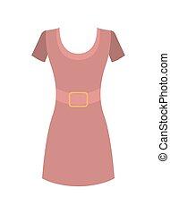 rosa, corto, rotondo, vettore, manicotti, vestire, colletto