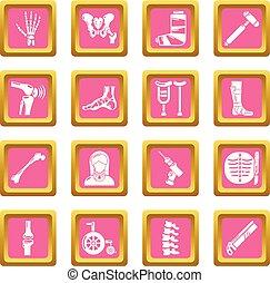 rosa, cuadrado, orthopedist, iconos, vector, conjunto, herramientas, hueso