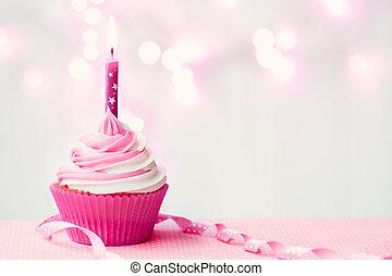 rosa, cumpleaños, cupcake