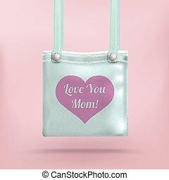 rosa, cuore, amore, fondo, borsellino, borsa, mamma
