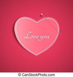rosa, cuore, amore, fondo, valentine, modello, pin., lines., one., nota, amato, carta, vector., romantico, day., you., felice