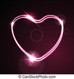 rosa, cuore, astratto, neon, effetto, ardendo, fondo