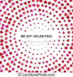 rosa, cuore, augurio, halftone, fondo., vettore, scheda, cuori, template., rosso