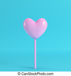 rosa, cuore, blu, luminoso, bastone, fondo