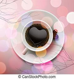 rosa, cuore, caffè, fatto, tazza, schiuma, forma, fondo, offuscamento, bianco
