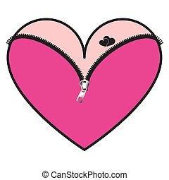 rosa, cuore, chiusura lampo, corsetto