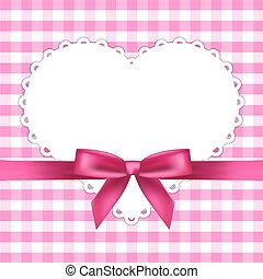 rosa, cuore, cornice, vettore