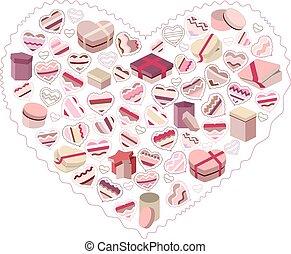 rosa, cuore, fatto, regalo, stilizzato, scatole