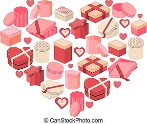rosa, cuore, fatto, stilizzato, cuori