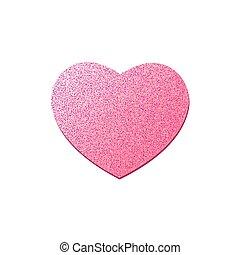 rosa, cuore, grafico, heart., brillare, valentines, isolato, elemento, day., fondo., vettore, lusso, bianco, felice, tuo, design.