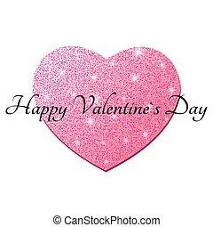 rosa, cuore, grafico, heart., brillare, valentines, text., isolato, elemento, day., fondo., vettore, nero, lusso, bianco, felice, tuo, design.