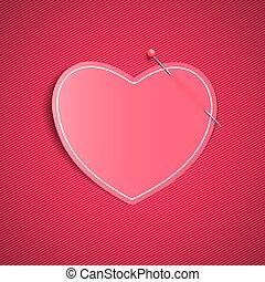 rosa, cuore, grafico, nota, fondo, valentine, modello, pin., festivo, lines., one., day., amato, carta, vuoto, vector., romantico, element., felice