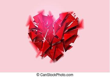 rosa, cuore, illustration., rotto, fondo, vettore