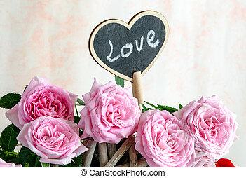 rosa, cuore, legno, fatto mano, rose, rosso