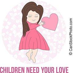 rosa, cuore, love., illustration., fondo, prese, bambini, flowers., vettore, fondo, bisogno, ragazza, phrase:, tuo