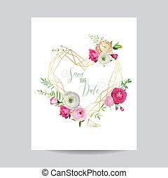 rosa, cuore, manifesto, scheda, testo, cornice, banner., augurio, illustrazione, template., data, flowers., vettore, posto, invito, matrimonio, floreale, risparmiare, tuo