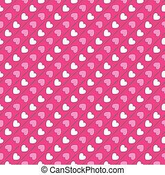 rosa, cuore, pattern., seamless, forma, colori, vettore, bianco