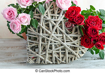 rosa, cuore, primo piano, legno, fatto mano, rose, decorato, rosso