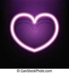 rosa, cuore, scuro, neon, fondo