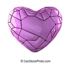 rosa, cuore, stile, fatto, colorare, isolato, poly, fondo., basso, bianco, 3d