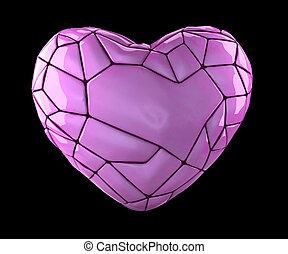rosa, cuore, stile, fatto, colorare, isolato, poly, fondo., nero, basso, 3d