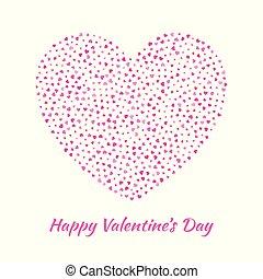 rosa, cuore, volare, silhouette, amore, fondo., valentines, isolato, illustrazione, gentile, vettore, cuori, eps10, bianco, giorno, scheda, design.