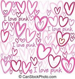 rosa, cuori, amore, fondo