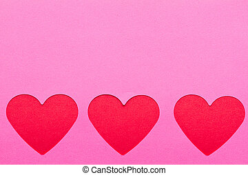 rosa, cuori, carta, rosso