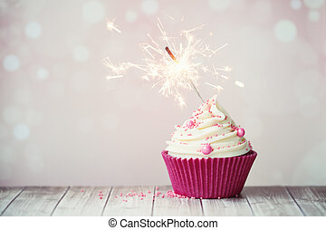 rosa, cupcake, mit, wunderkerze