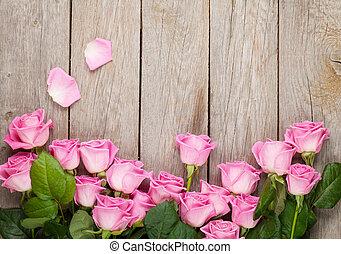 rosa, de madera, encima, valentines, rosas, plano de fondo, tabla, día