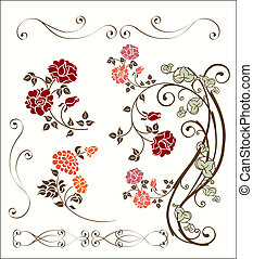 rosa, decoración, conjunto