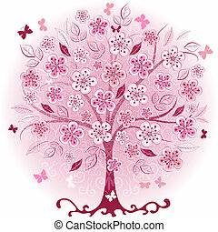 rosa, decorativo, albero, primavera