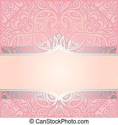 rosa, dekorativ, &, årgång, tapet, design, retro, inbjudan, silver