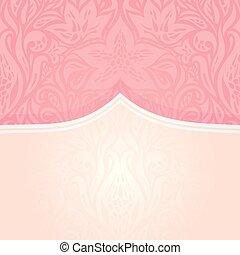 rosa, dekorativ, mode, årgång, tapet, design, retro, inbjudan, silver