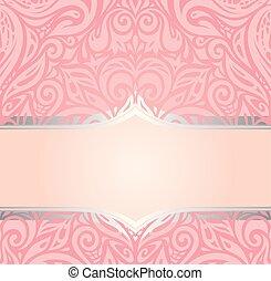 rosa, dekorativ, mode, &, årgång, tapet, design, retro, inbjudan, silver